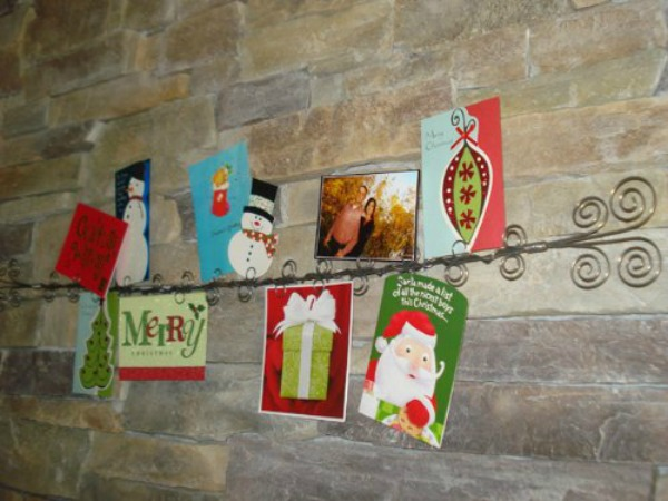 long wall christmas card holder idea