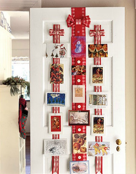 ribbon christmas card display holder