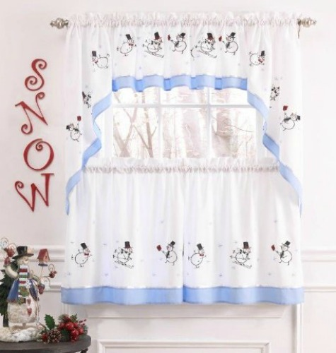 skiing snowmen curtains for kitchen