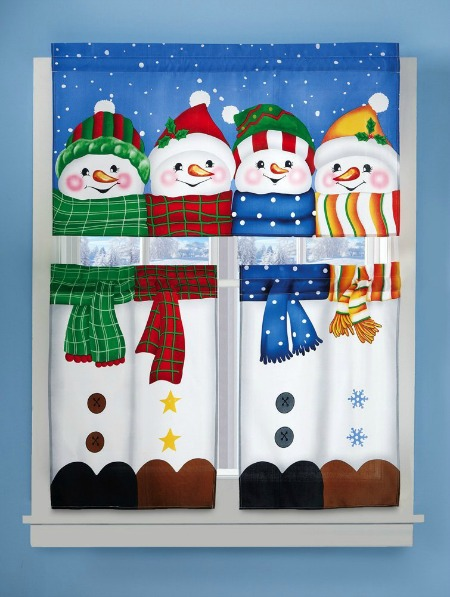 snowman curtain set