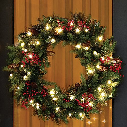 LED Christmas wreath with pine cones