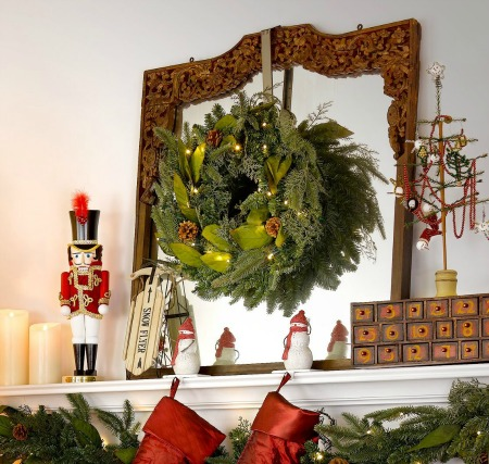 christmas wreath over mantle