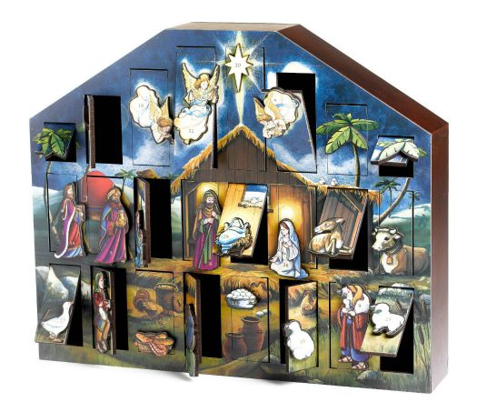 wood nativity scene advent calendar