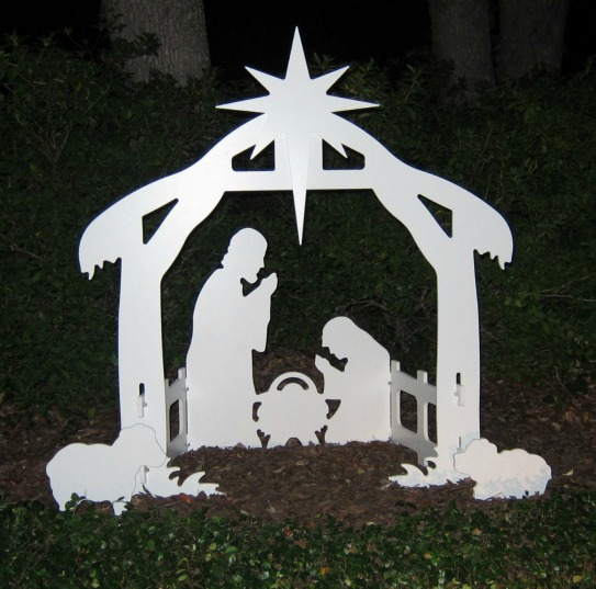 outdoor silhouette nativity scene