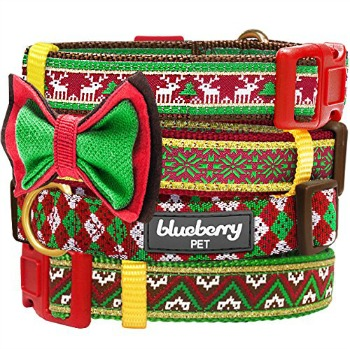 christmas dog collar with bow tie