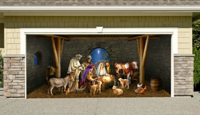 garage door nativity scene