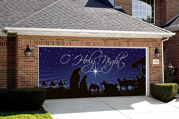 Decorate your home with a nativity scene for the garage door for Christmas garage door mural