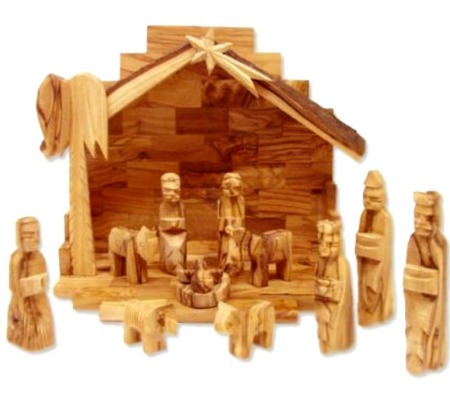 olive wood rustic nativity set