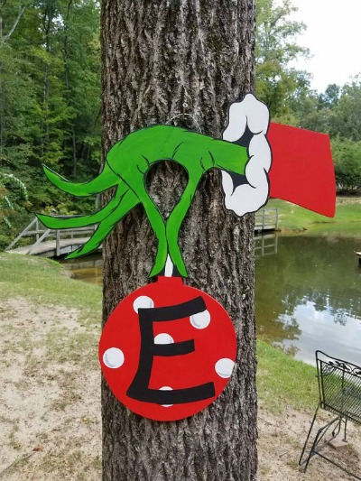 grinch christmas door hanger decoration