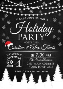 black and white christmas party invitations